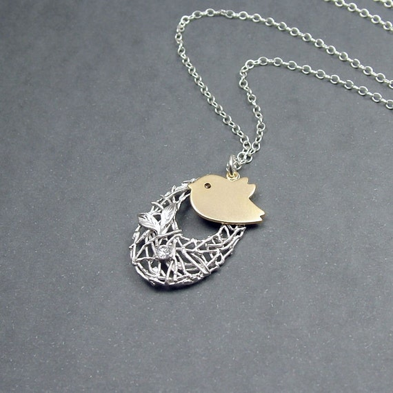 Gold Bird and Nest Necklace Silver Sterling Chain