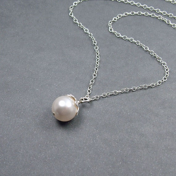 Simple Pearl Necklace in Sterling Silver - perfect bridesmaid gift