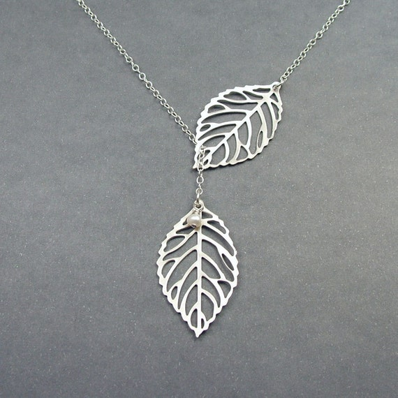 Double Leaf Necklace, Leaf Lariat, Sterling Silver Chain, Leaf Jewelry with Freshwater Pearl