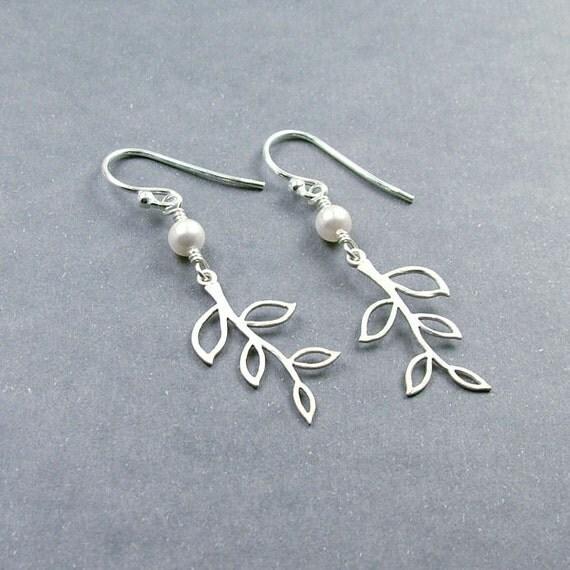 Mini Silver Branch Earrings - 'Lydia - White'