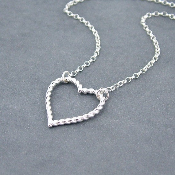 Silver Heart Necklace, Sterling Silver Chain