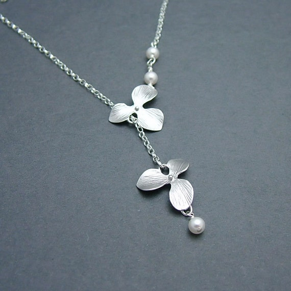 Double Silver Orchid Necklace, Orchid Lariat - Sterling Silver Rolo Chain, Swarovski Pearls, Bridesmaid Gift, Bridal Jewelry