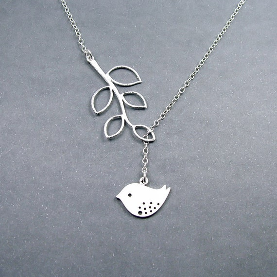 Bird Necklace with Branch 'Melody' - Bird Lariat, Sterling Silver Chain