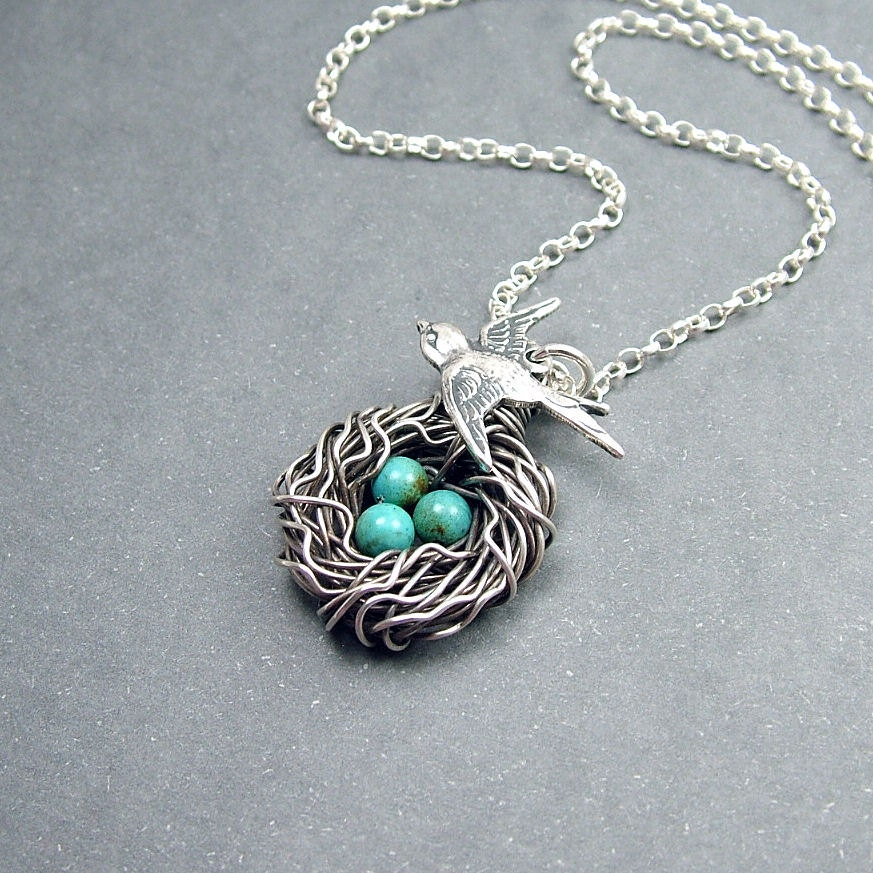 reserved for bird nest necklace sterling silver and