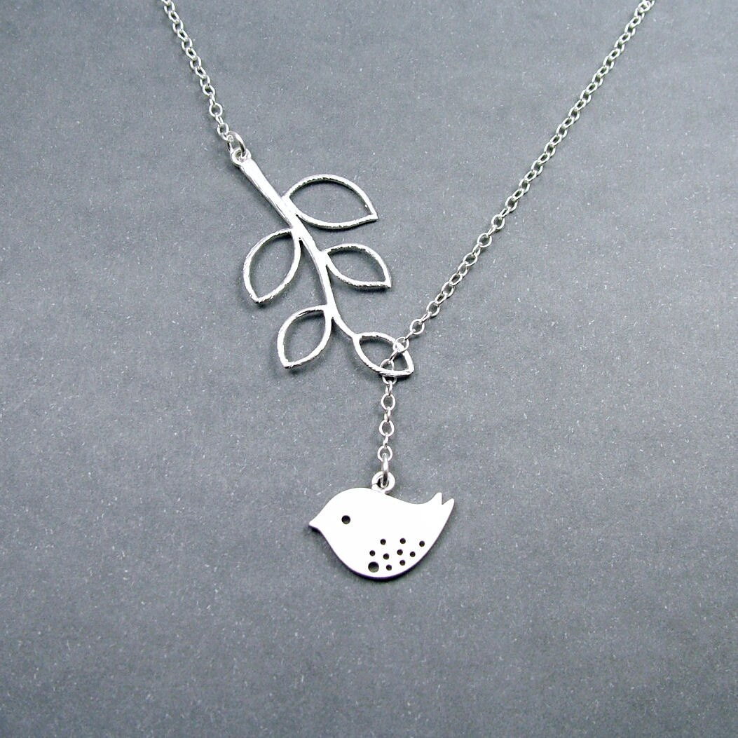 sterling silver bird necklace with branch melody