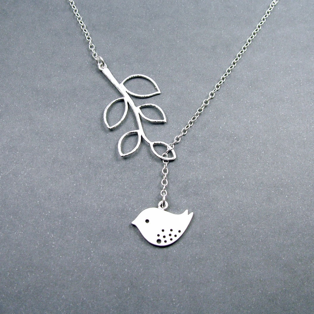 bird jewelry sterling silver bird necklace with branch melody 8573