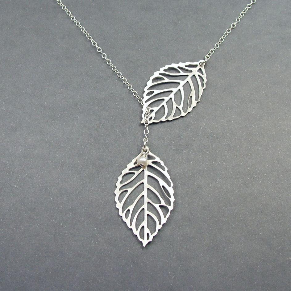 Double Leaf Necklace Leaf Lariat Sterling Silver Chain Leaf