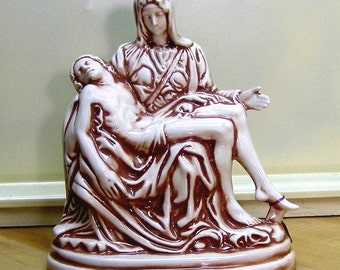 PIETA  Mary holding Christ brown ceramic