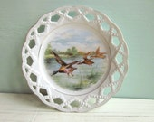 vintage decorative plate - mallard ducks flying over marsh - decal