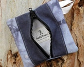 Hemp and Organic Cotton Canvas Zippered Change Purse in Blues