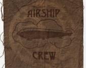 Steampunk Airship Crew Cyanotype Fabric Patch-Raw Edge