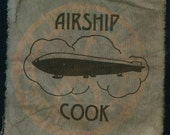 Steampunk Airship Cook Cyanotype Fabric Patch-Raw Edge