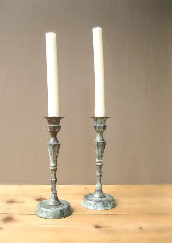 Pair Antique or Very Vintage Patinated Metal Candlesticks