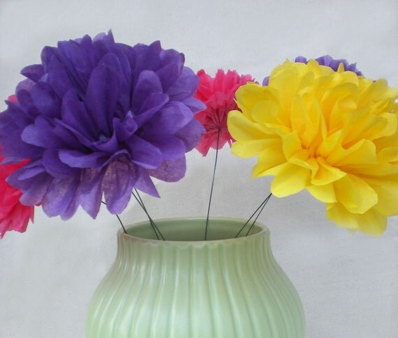 20 Stemmed Tissue Paper Flowers...Choose Your Colors.... (you open)