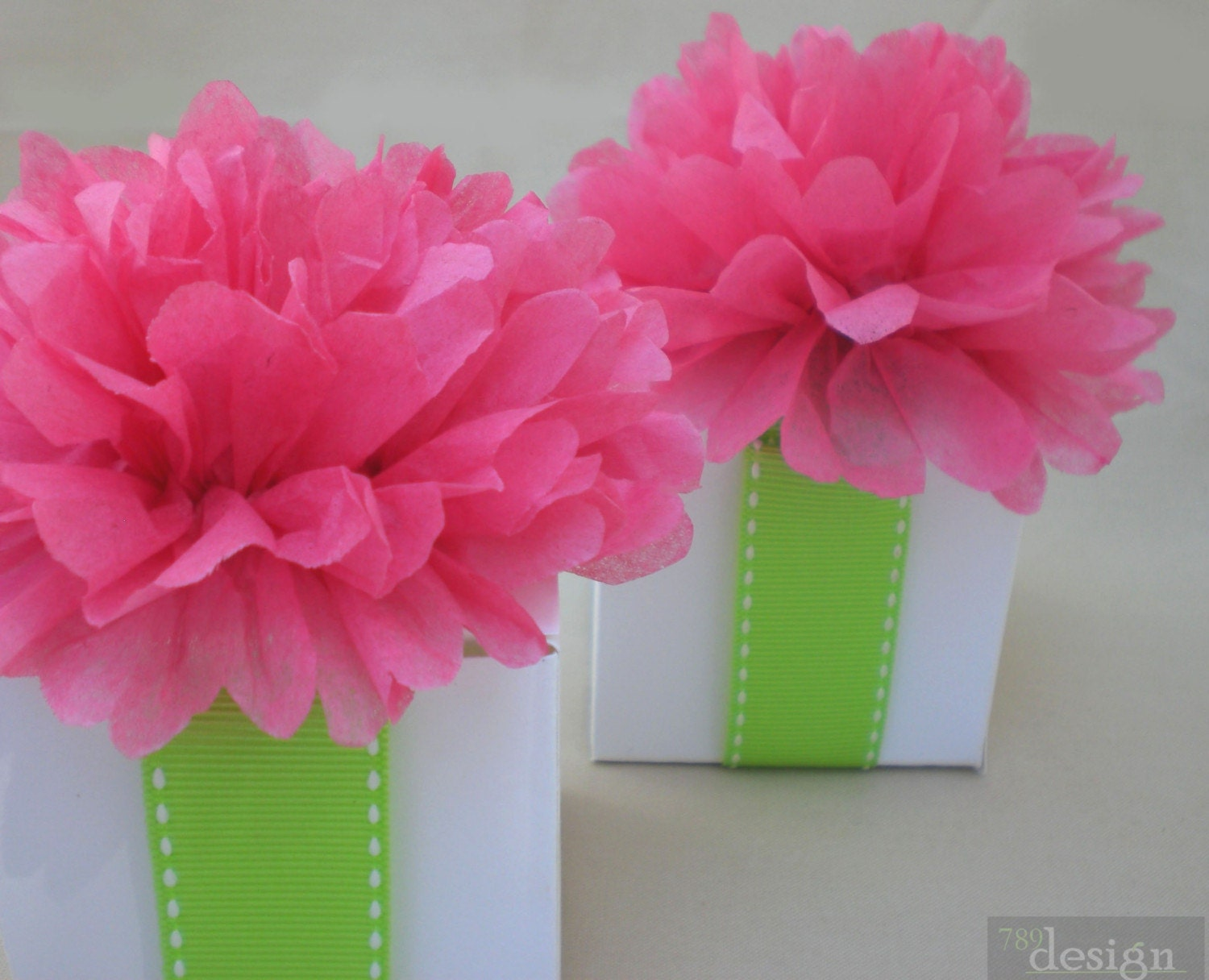 Favor box toppers tissue paper flowers wedding