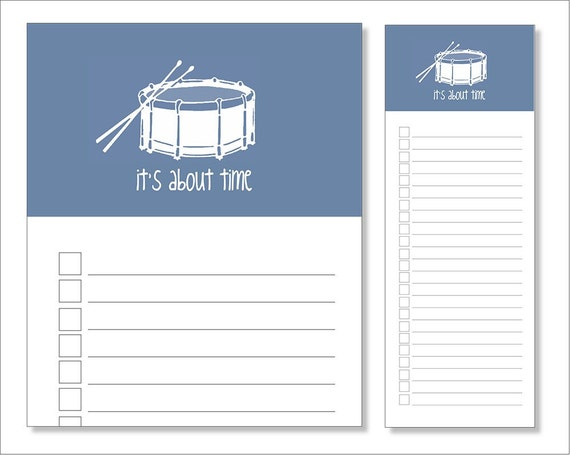 its about time // notepad // drum // blue // list // to do // lines // checkbox // skel // skel design // skel & co
