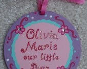 Custom personalized hand painted  unbreakable wooden baby's first Christmas heirloom birthday gift