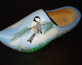 Unique original recycled bird lover gift authentic wooden dutch clog planter door stop hand painted with spring scene perfect gift