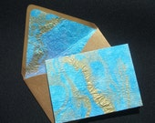 4 Bar Note Cards - Set of 10 -  Peacock Blue