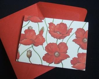 4 Bar Poppy Blank Notecards- Set of 10