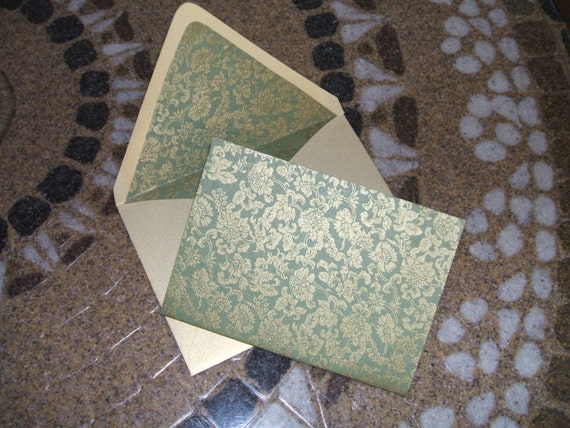 Blank Note Cards Shimmer Gold and Olive Brocade - Set of 10
