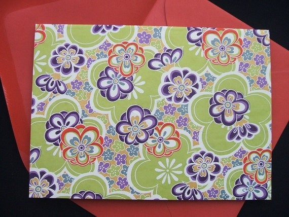 A2 Blank Note Cards - Chiyogami Citrus Blooms (Set of 10)