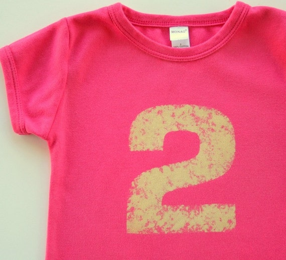 Girls Distressed Number Shirt, Birthday shirt  1,2,3,4,5,6,7 - NO INK - Birthday Tee - personalized, sizes 12m to 6 (Free Shipping)