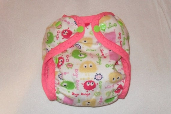 AI2 cloth diaper cover made from  Pink Ooga Fabric fabric