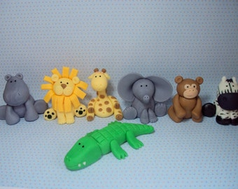 Safari Animals Set of 7  Cupcake or Cake Toppers for Birthdays, Baby Showers and More