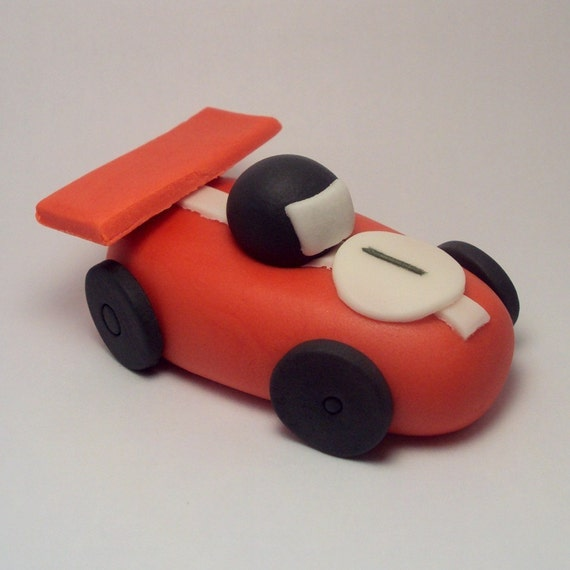 Race Car Cupcake or Cake Toppers Set of 4