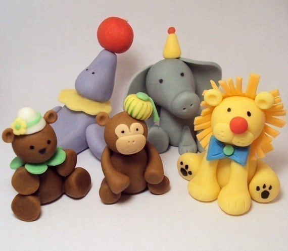 Circus Animals Set of 5- Cupcake or Cake Toppers