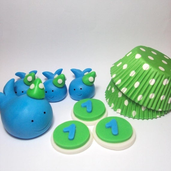Party Hat Whales Birthday Set Deluxe- Cake Topper, Cupcake Toppers and Cupcake Liners