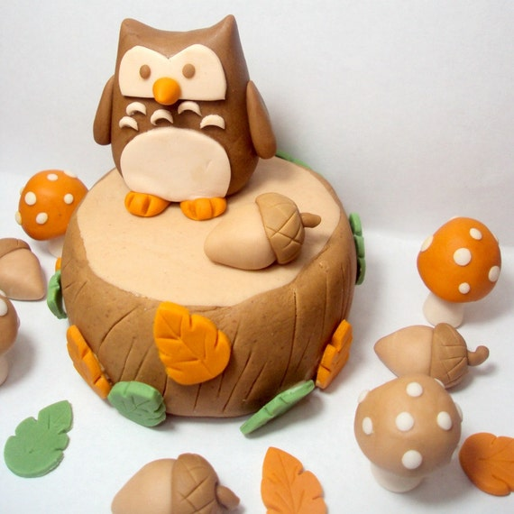 RESERVED FOR ap4352 Forest Owl Cake Topper For Birthdays, Baby Showers, and Other Fall Events