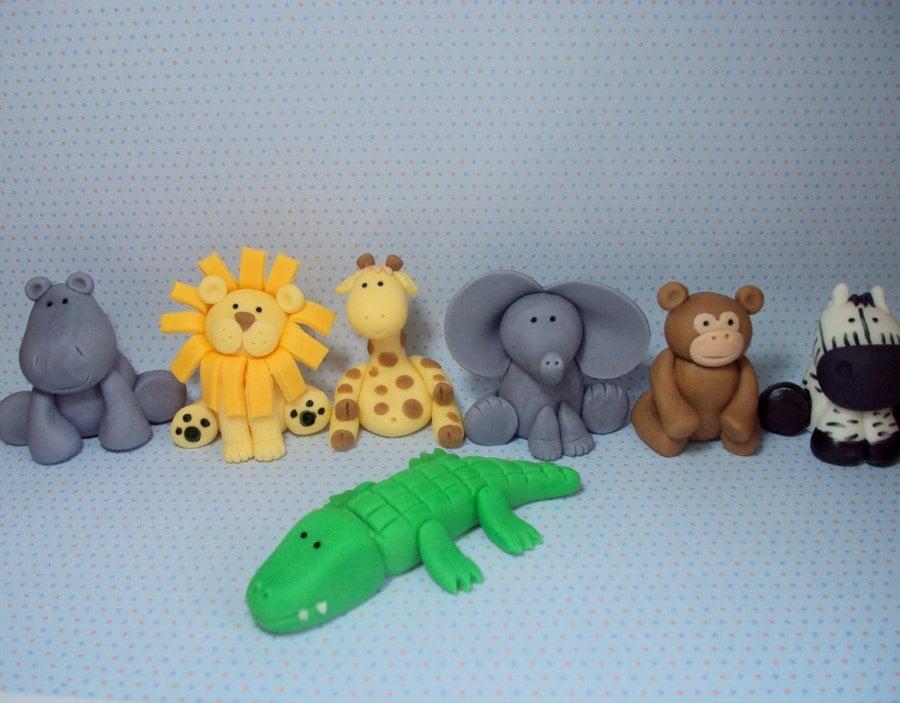 Jungle Animals Cake Decorating Kit : Safari Animals Set of 7 Cupcake or Cake Toppers for