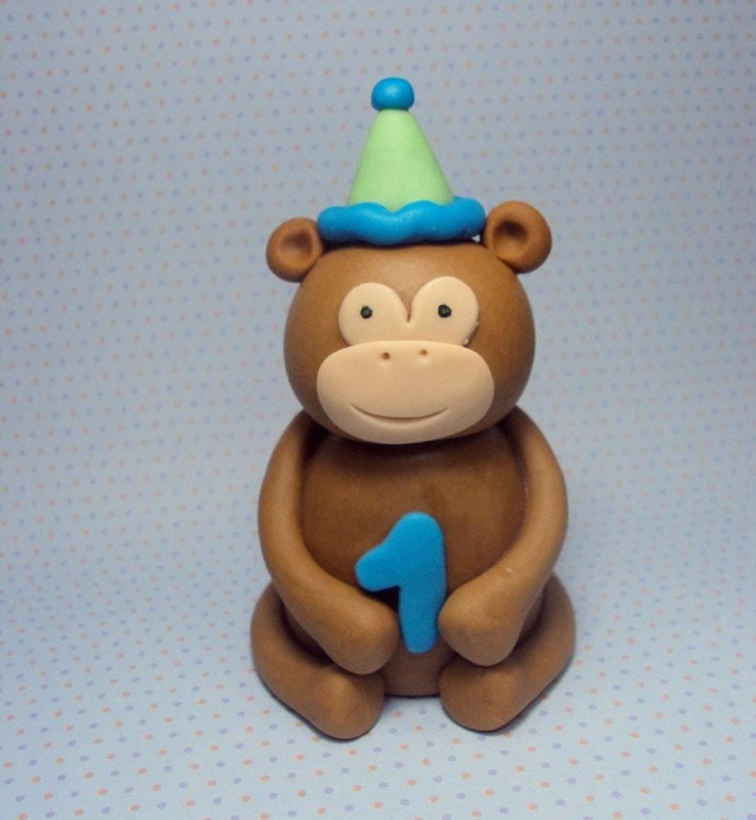 Birthday Monkey Cake Topper by SweetTouchDecor on Etsy