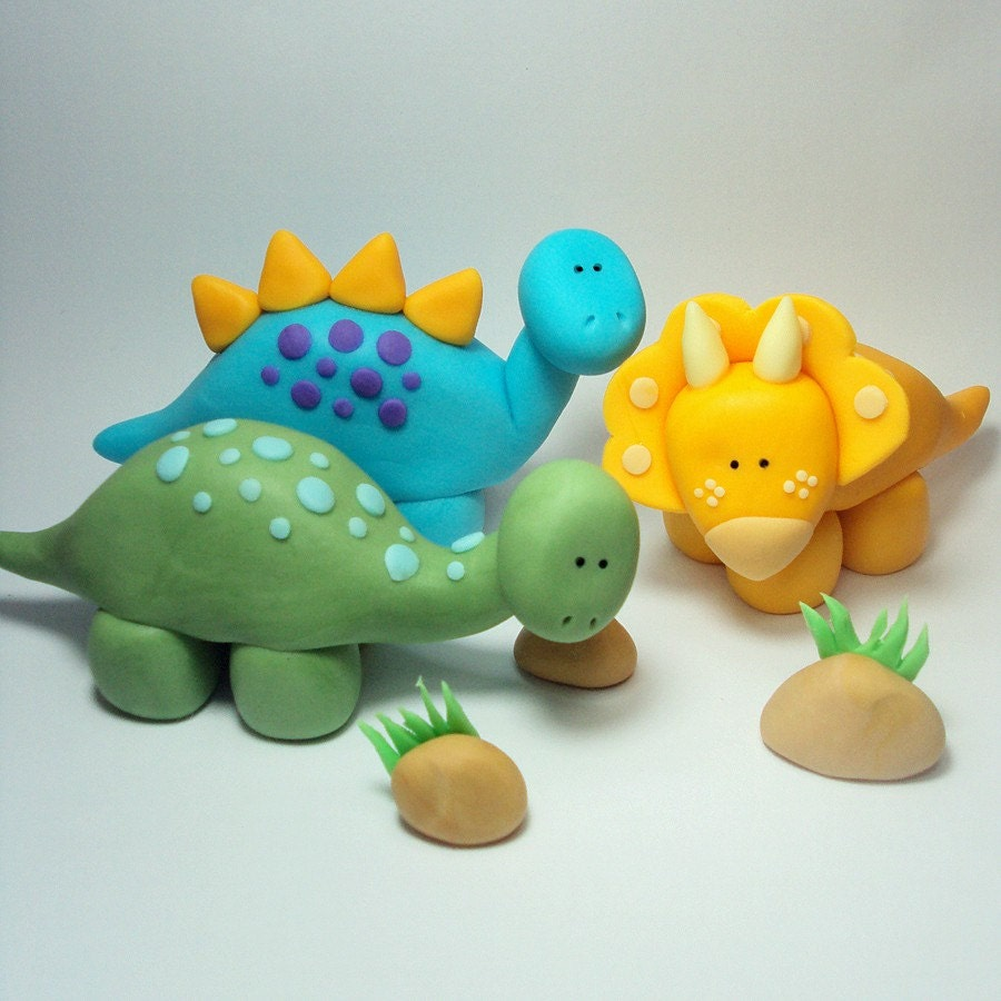 Cake Decoration Figures : Dinosaur Trio Cake Topper Set for Dinosaur by SweetTouchDecor