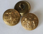 Vintage British Royal Coat of Arms Button WWI Era General Service Military Shank Buttons - Set of 3