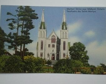 Vintage Postcard Martyrs Shrine Sanctuaire des Saints Martyrs Midland Ontario Canada Brebeuf and Jesuit Missionaries in Huronia