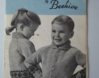 SALE * Vintage Bordered Cardigans Charted Knitting Pattern for Girls or Boys by Patons Beehive No.1028 Graph Style