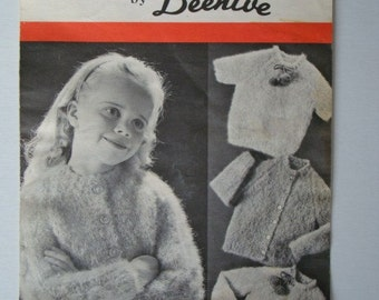 SALE * Vintage Cardigans and Pullovers Knitting Pattern for Girls by Patons Beehive Molana Designs No.2009
