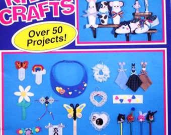 SALE * Vintage Kid's Crafts by Lewiscraft - Over 50 Projects Quick and Easy to Do for Individuals or Groups Felt Chenille Cord Floss Yarn