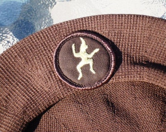 Vintage Brownies Official Beret Girl Guides of Canada Circa 1960s Pixie Emblem GGC Chocolate Brown Child's Large Size Adult Size Small