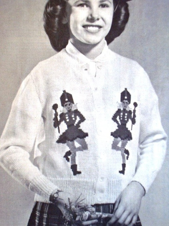 Vintage Majorettes Cardigan by Mary Maxim No.607 for Girls Charted Knitting Pattern Graph Style