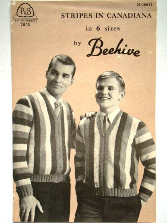 Vintage Stripes in Canadiana Sweater Knitting Pattern by Beehive No.2003 for Men and Teens in 6 Sizes