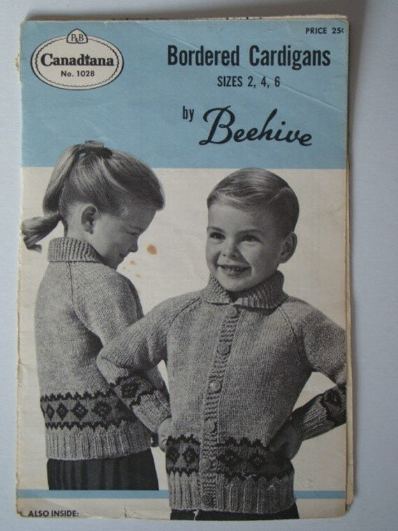 Vintage Bordered Cardigans Charted Knitting Pattern for Girls or Boys by Patons Beehive No.1028 Graph Style