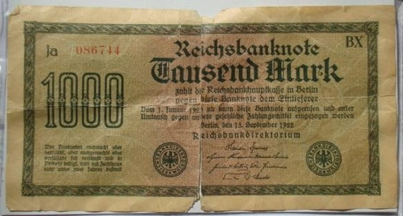 Vintage 1000 REICHSBANKNOTE September 15, 1922 Tausend Mark Germany Paper Currency