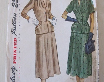 Vintage Pattern, 1940s Simplicity Dress Pattern, Two Piece Dress with Hip Length Top size 18