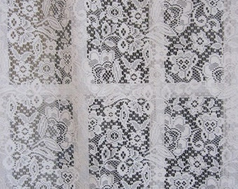 Off White Floral Lace Curtain Panel 60 long...a total of 2 are available