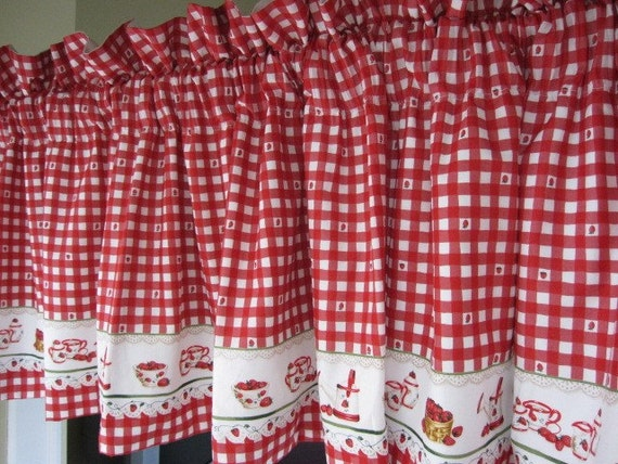Strawberry Red And White Check Lined Cafe Curtain By
