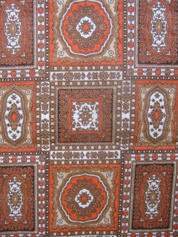 reserved for elle...Vintage Fabric, Cotton Fabric, Hippie Chic Medallion Orange and Brown Fabric 2.77 yards
